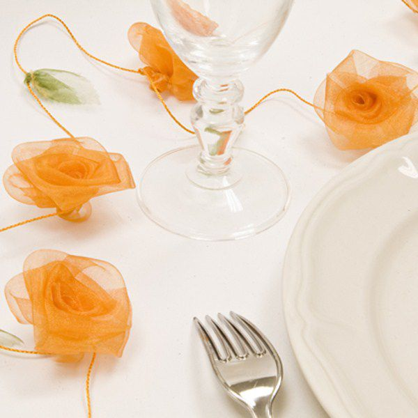 GUIRLANDE DE ROSES ORGANZA - ORANGE