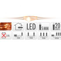 GUIRLANDE FIL CUIVRE 20 LED BLANC EXTRA CHAUD 105 CM