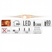 GUIRLANDE FIL CUIVRE 80 LED BLANC EXTRA CHAUD 300 CM