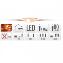 GUIRLANDE FIL CUIVRE 80 LED BLANC EXTRA CHAUD 405 CM