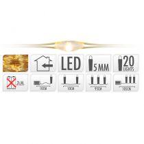 GUIRLANDE FIL OR 20 LED BLANC EXTRA CHAUD 105 CM