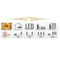 GUIRLANDE FIL OR 20 LED BLANC EXTRA CHAUD 105 CM