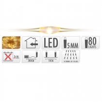 GUIRLANDE FIL OR 80 LED BLANC EXTRA CHAUD 300 CM