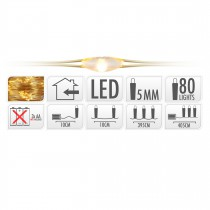 GUIRLANDE FIL OR 80 LED BLANC EXTRA CHAUD 405 CM