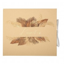 LIVRE D\'OR CARTON PALM LEAF 68P 22X19CM SABLE OR