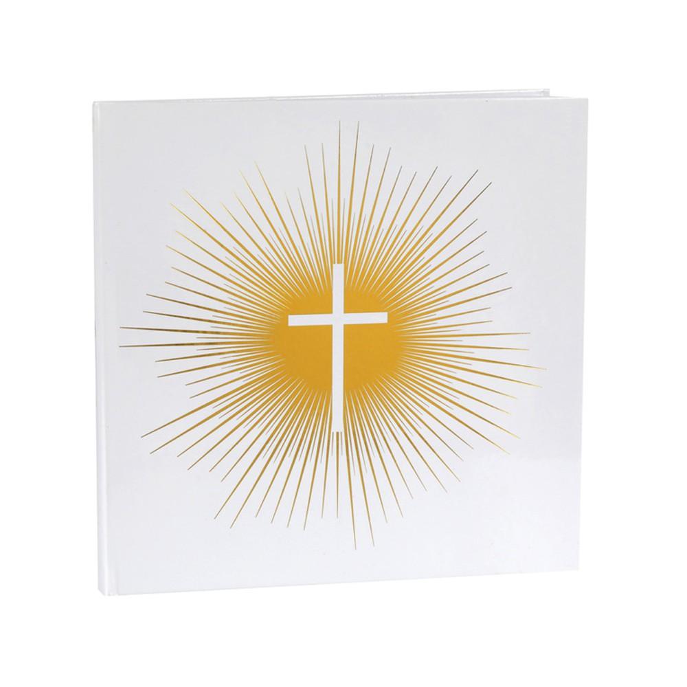 LIVRE D'OR CÉRÉMONIE RELIGIEUSE 24CM BLANC OR