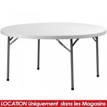 LOCATION TABLE PLIANTE PVC RONDE 152CM