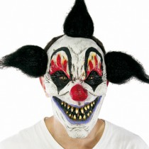 MASQUE CLOWN CHEVEUX NOIRS LATEX ADULTE