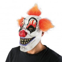 MASQUE CLOWN CHEVEUX ORANGE LATEX ADULTE