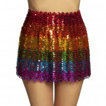 MINI-JUPE STRETCH SEQUIN MULTICOLORE