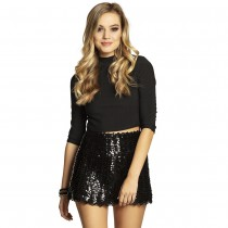 MINI-JUPE STRETCH SEQUIN NOIR