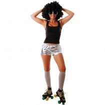 MINI SHORT DISCO ARGENT ADULTE