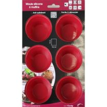 MOULE SILICONE 6 MUFFINS ROUGE