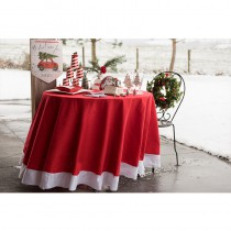 NAPPE RONDE NOËL TRADITION ROUGE BLANC