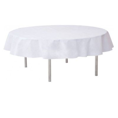 nappe ronde unie blanche pour d co table pas cher. Black Bedroom Furniture Sets. Home Design Ideas