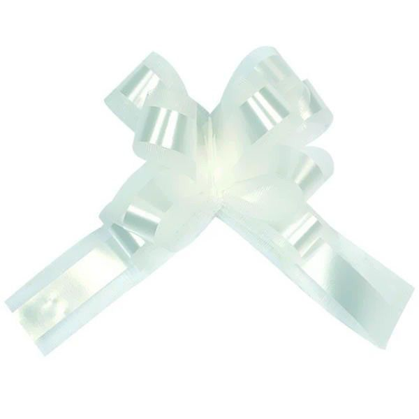 NOEUD STRIP TARLATANE D.18CM - BLANC
