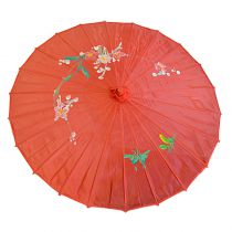 OMBRELLE CHINOISE TISSU ROUGE 82 CM