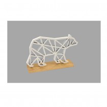 OURS POLAIRE DESIGN BOIS SOCLE OR 10X6.5X2.5CM