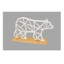 OURS POLAIRE DESIGN BOIS SOCLE OR 14X9.2X3.5CM