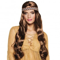 PERRUQUE HIPPIE BANDEAU MARRON