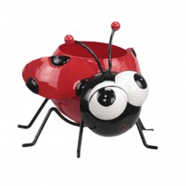 POT EN METAL COCCINELLE 15X16CM ROUGE
