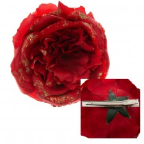 ROSE ROUGE PAILLETTES OR SUR PINCE 10CM
