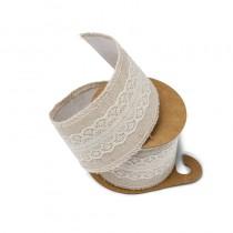 ruban lin et dentelle adhésif ivoire de 5 cm pour déco mariage