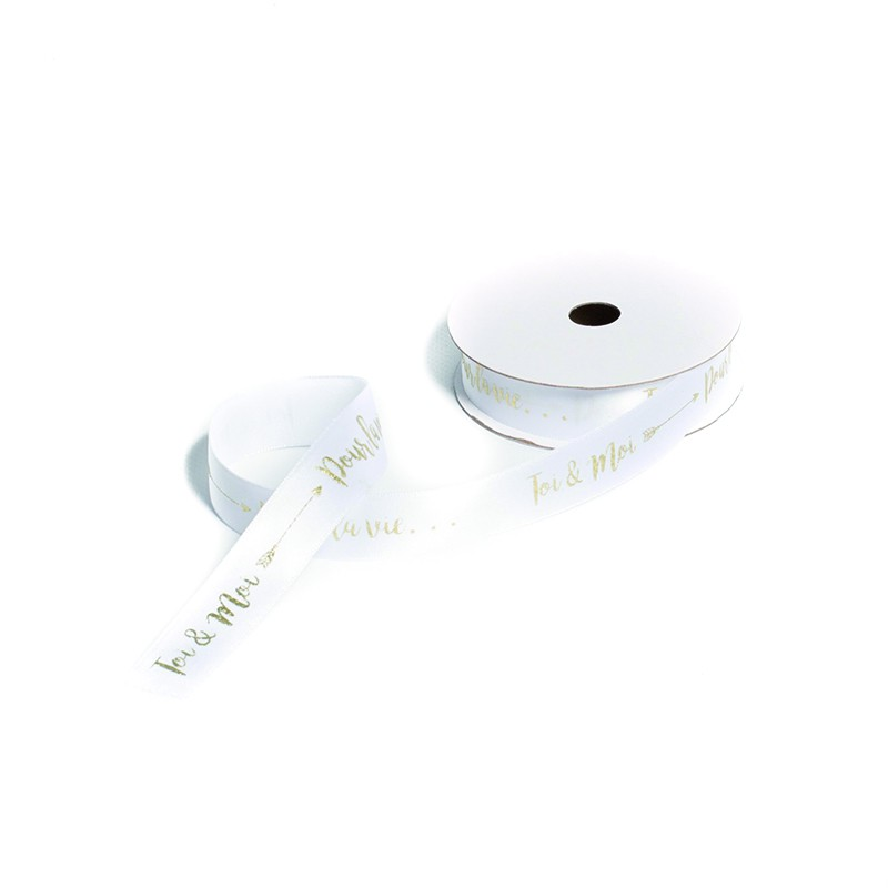 RUBAN SATIN BLANC DORÉ 19 MM X 10 M