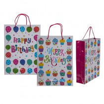SAC CADEAU HAPPY BIRTHDAY 25X8X34 CM