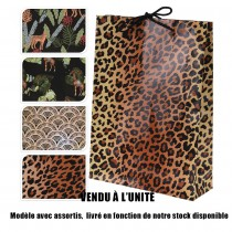 SAC CADEAU JUNGLE MOTIFS 25X34.5 4ASS