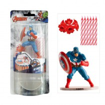 SET PVC CAPTAIN AMERICA + BOUGIES ANNIVE