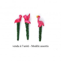 STYLO FLAMANT ROSE 17CM - 3 ASS