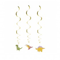 SUSPENSION 3 SPIRALES DINOSAURE PARTY 85CM