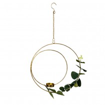 SUSPENSION BOUGEOIR EUCALYPTUS DOUBLE CERCLE 26CM