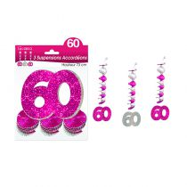 SUSPENSIONS ACCORDEONS 60 ANS HOLO. ROSE