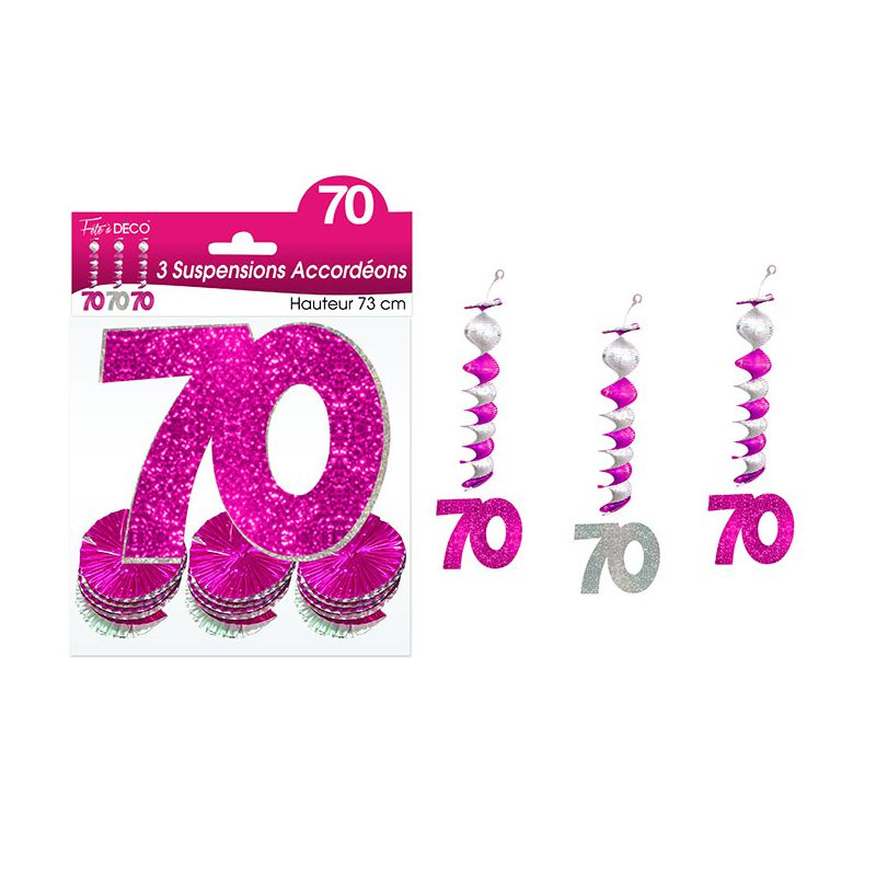 SUSPENSIONS ACCORDEONS 70 ANS HOLO. ROSE
