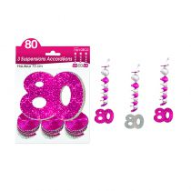 SUSPENSIONS ACCORDEONS 80 ANS HOLO. ROSE