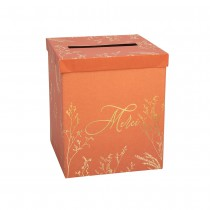 URNE CARTON MERCI BRINDILLES 21X25CM TERRACOTTA OR