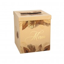 URNE CARTON MERCI PALM LEAF 21X25CM SABLE OR
