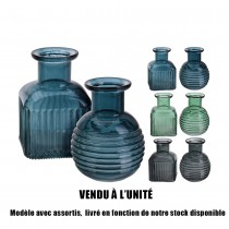 VASE VERRE COLORÉ 12CM 6ASS