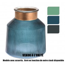 VASE VERRE COLORÉ 16CM 3ASS
