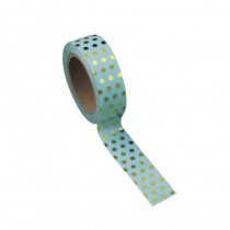 WASHI TAPE CÉLADON À POIS OR 15MMX10M