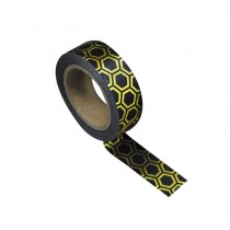 WASHI TAPE NOIR NID D'ABEILLE OR 15MMX10