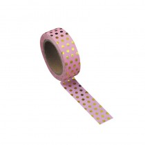 WASHI TAPE ROSE VINTAGE À POIS OR 15MMX1