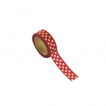 WASHI TAPE ROUGE À POIS 15MMX10M